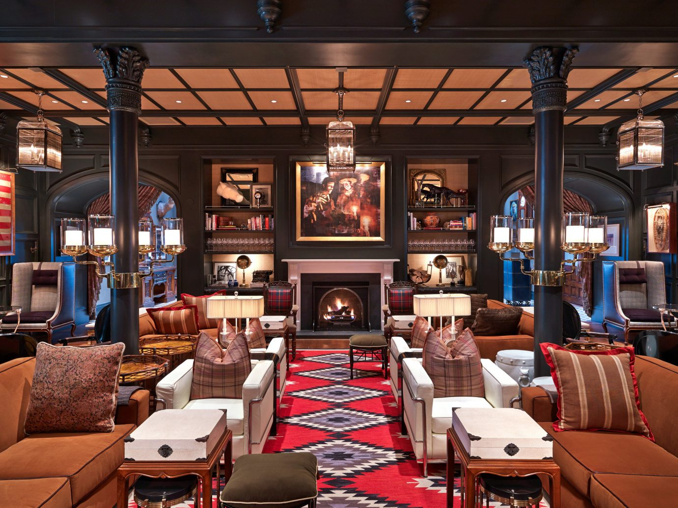 Fireplace Hotels Lobby Lounge Trip Ideas Winter indoor room Living restaurant interior design café Bar furniture several