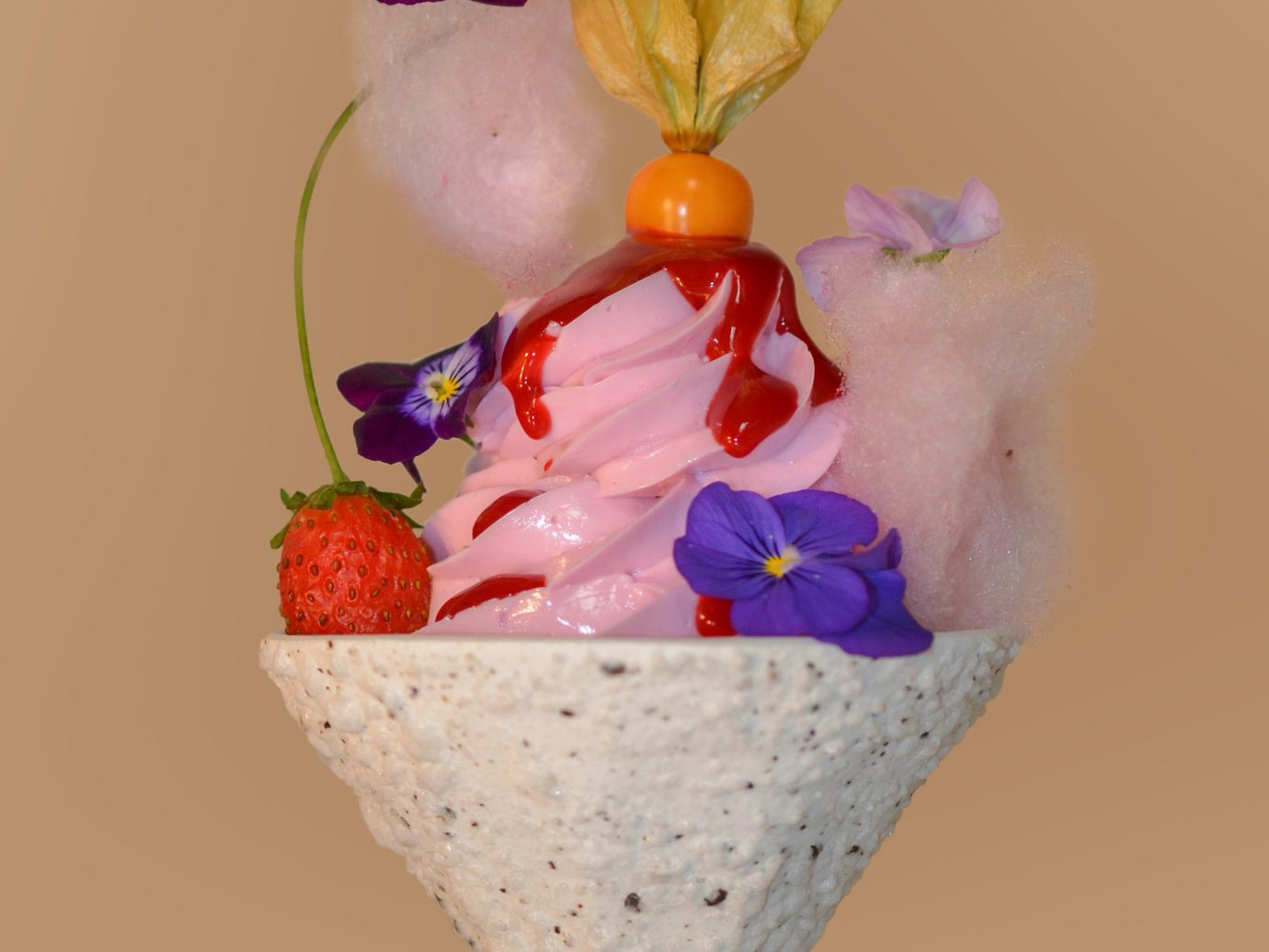 Food + Drink wall flower indoor dessert food petal organ ice cream cone stuffed flower bouquet toy decorated colored