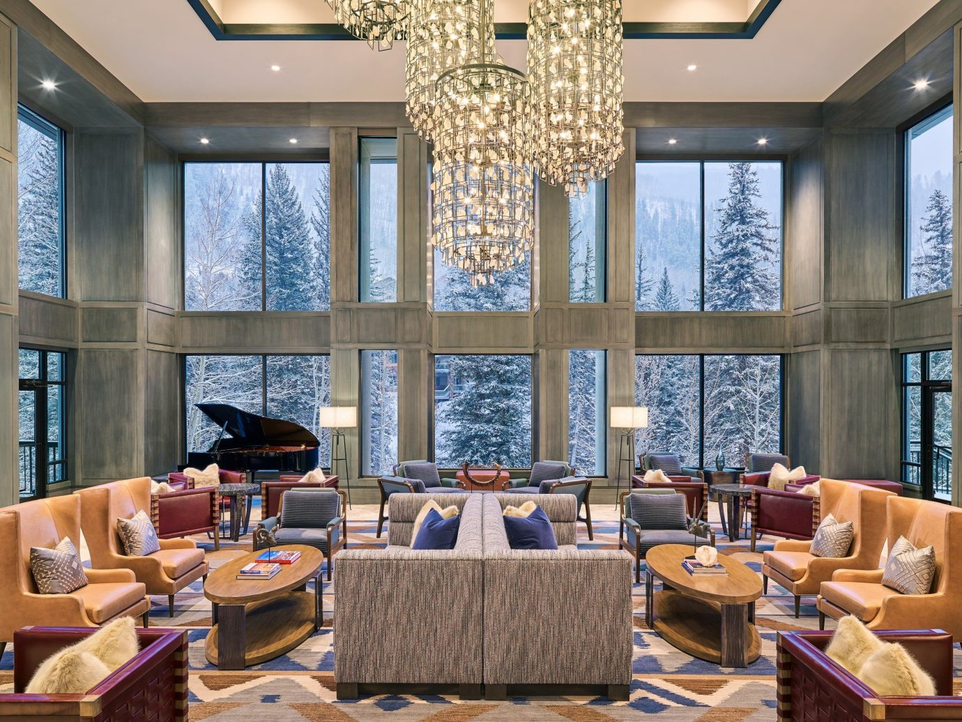 alpine skiing Mountains + Skiing Trip Ideas window indoor interior design living room ceiling Lobby furniture restaurant real estate daylighting