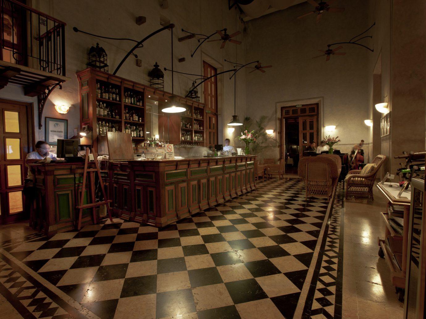 Beach Honeymoon Hotels Mexico Romance Tulum restaurant interior design lighting flooring floor night Lobby