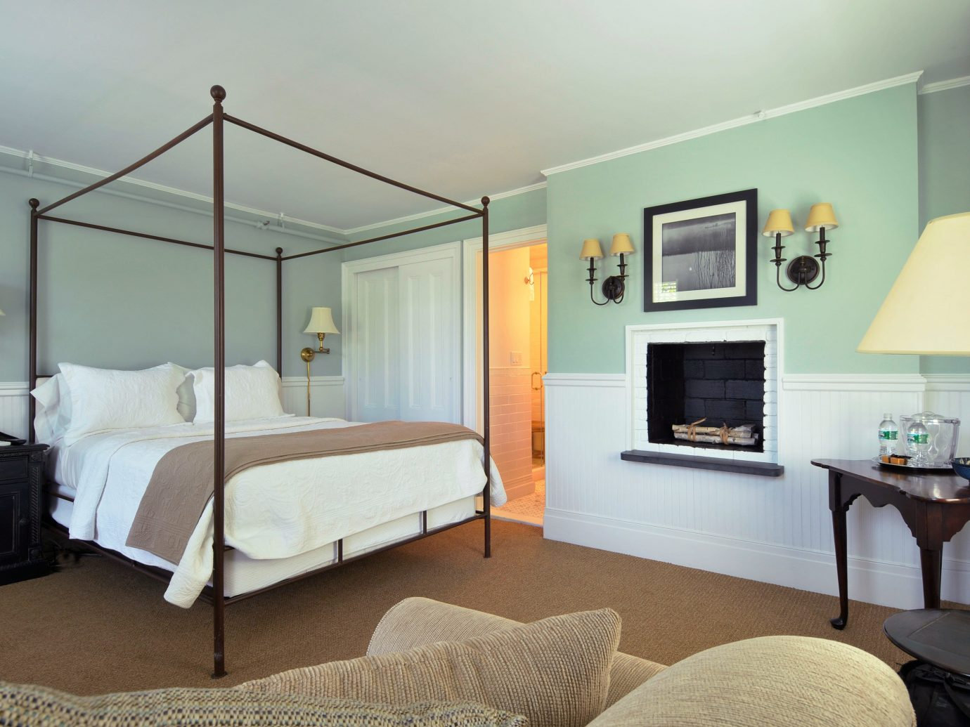 Beach South Fork The Hamptons indoor wall room floor bed property Bedroom ceiling Living Suite real estate estate home furniture hotel cottage interior design living room Villa apartment condominium area decorated lamp