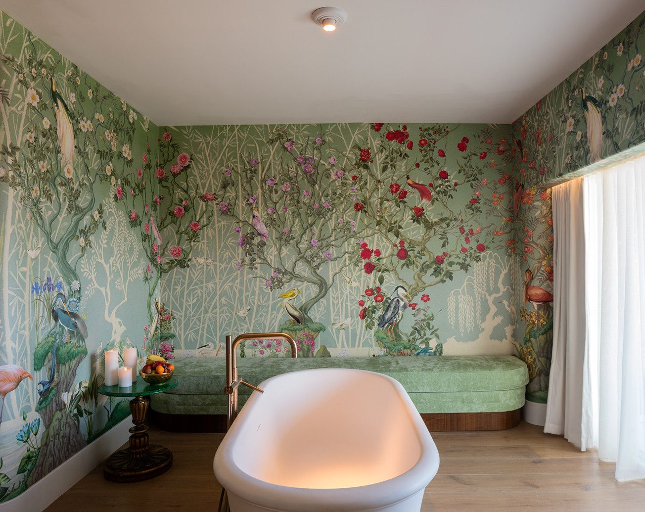 Bath colorful floral Health + Wellness Hotels Luxury private relaxation Romance Spa Spa Retreats Style + Design treatment wallpaper wall indoor floor room bathroom property house interior design bathtub flooring Design estate Suite living room plumbing fixture furniture