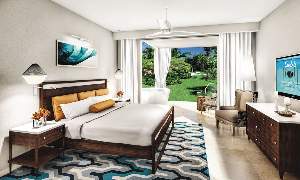 Bedroom at Sandals Royal Bahamian