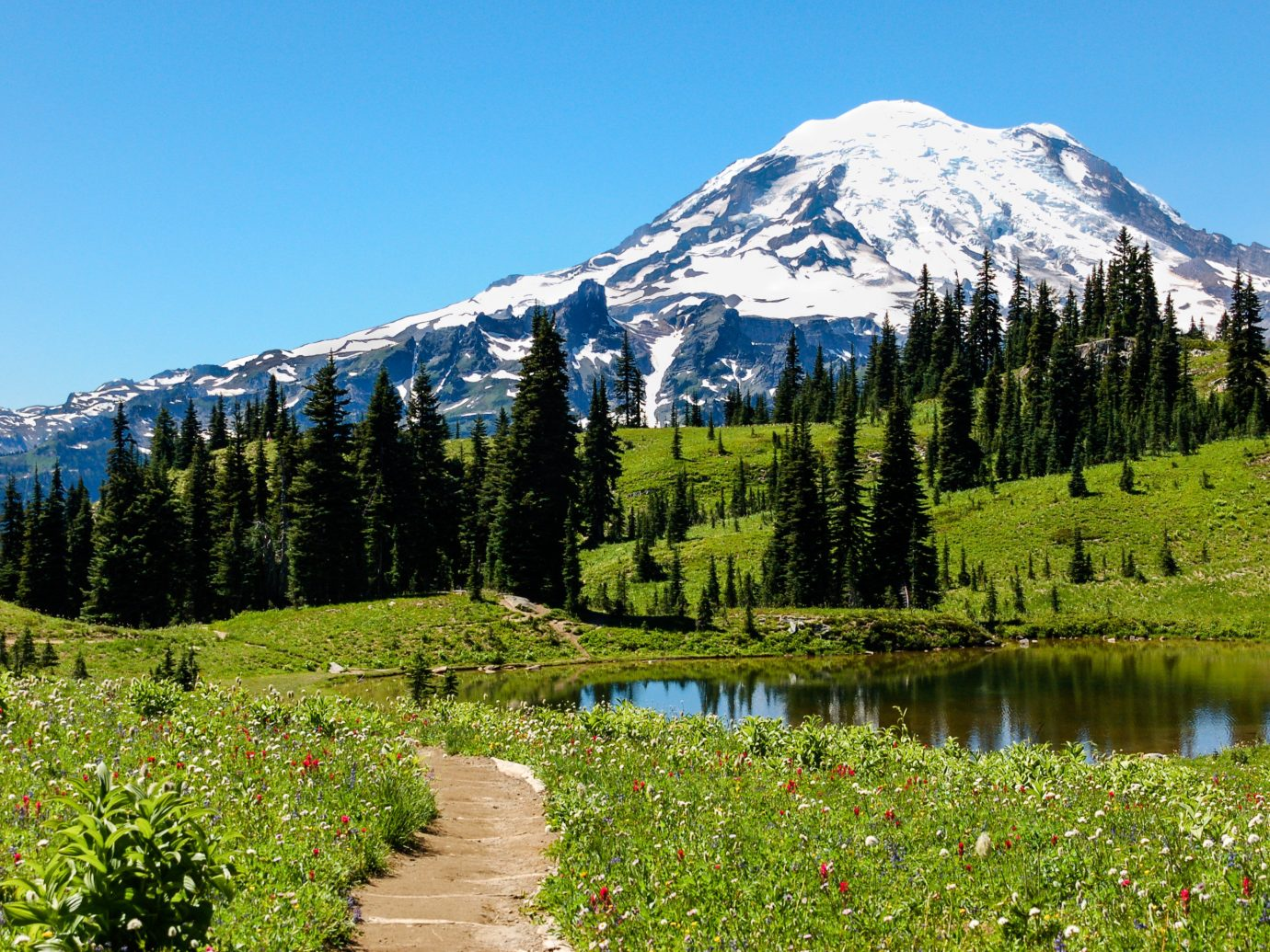 Trip Ideas grass sky outdoor mountain tree Nature mountainous landforms mountain range wilderness geographical feature landform natural environment ecosystem field Lake meadow ridge alps fell landscape valley plateau pond mountain pass reflection walking park flower national park hillside surrounded lush