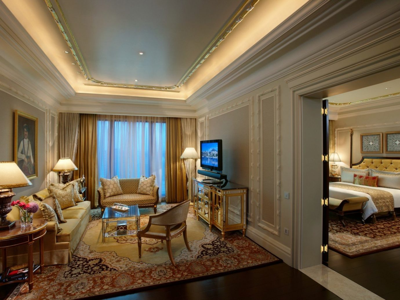 Hotels Luxury Travel indoor wall floor room ceiling Living living room interior design Suite home estate real estate window furniture interior designer area Bedroom