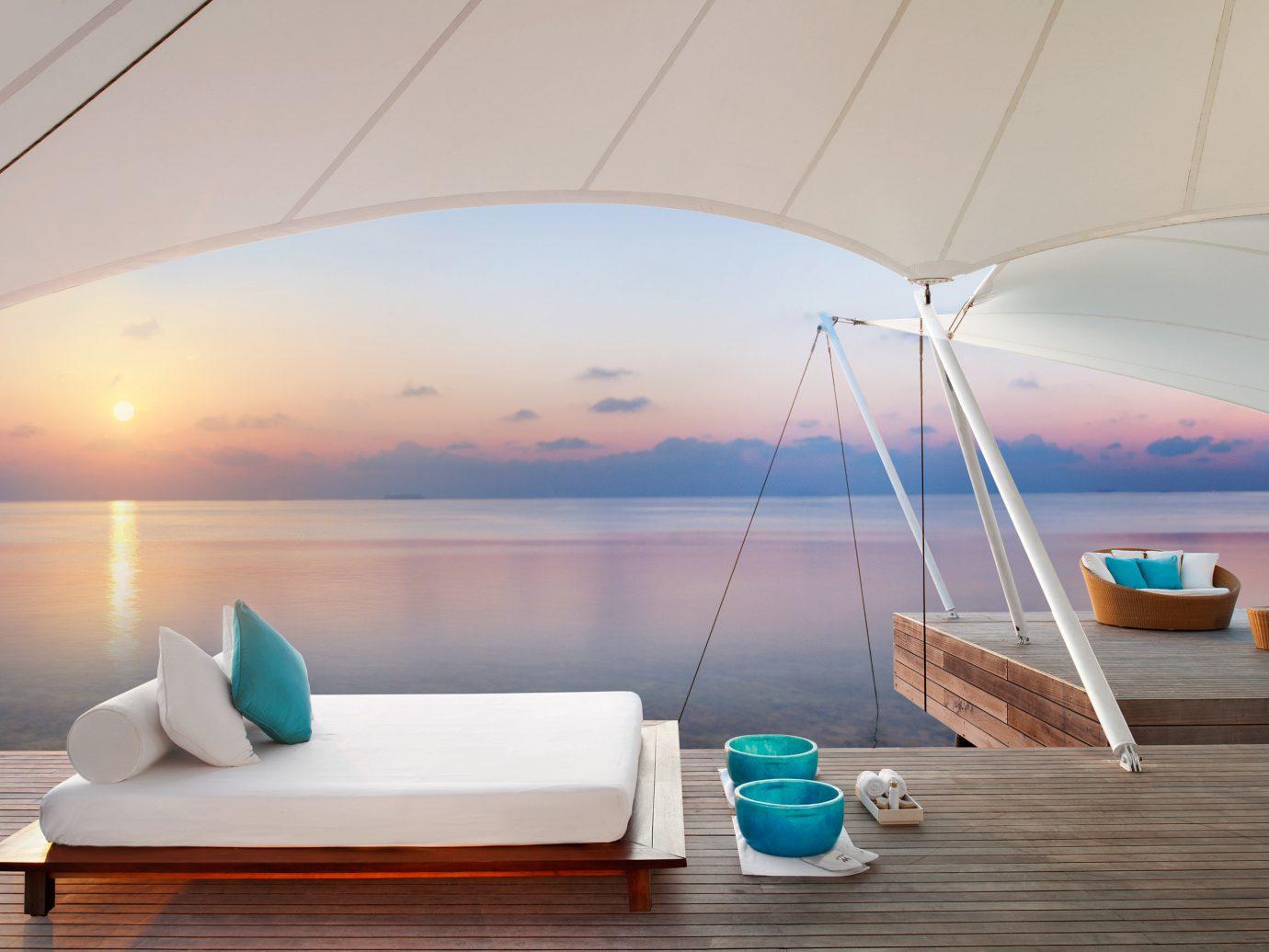 Elegant Living Lounge Luxury Ocean Overwater Bungalow Trip Ideas indoor Boat Architecture yacht lighting interior design ceiling Design swimming pool