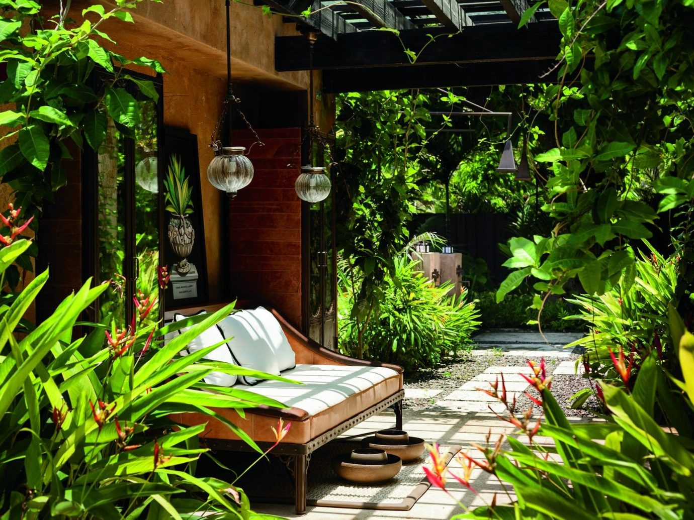 Hotels tree plant outdoor green backyard yard Garden botany grass house Courtyard flower Jungle outdoor structure pond lawn