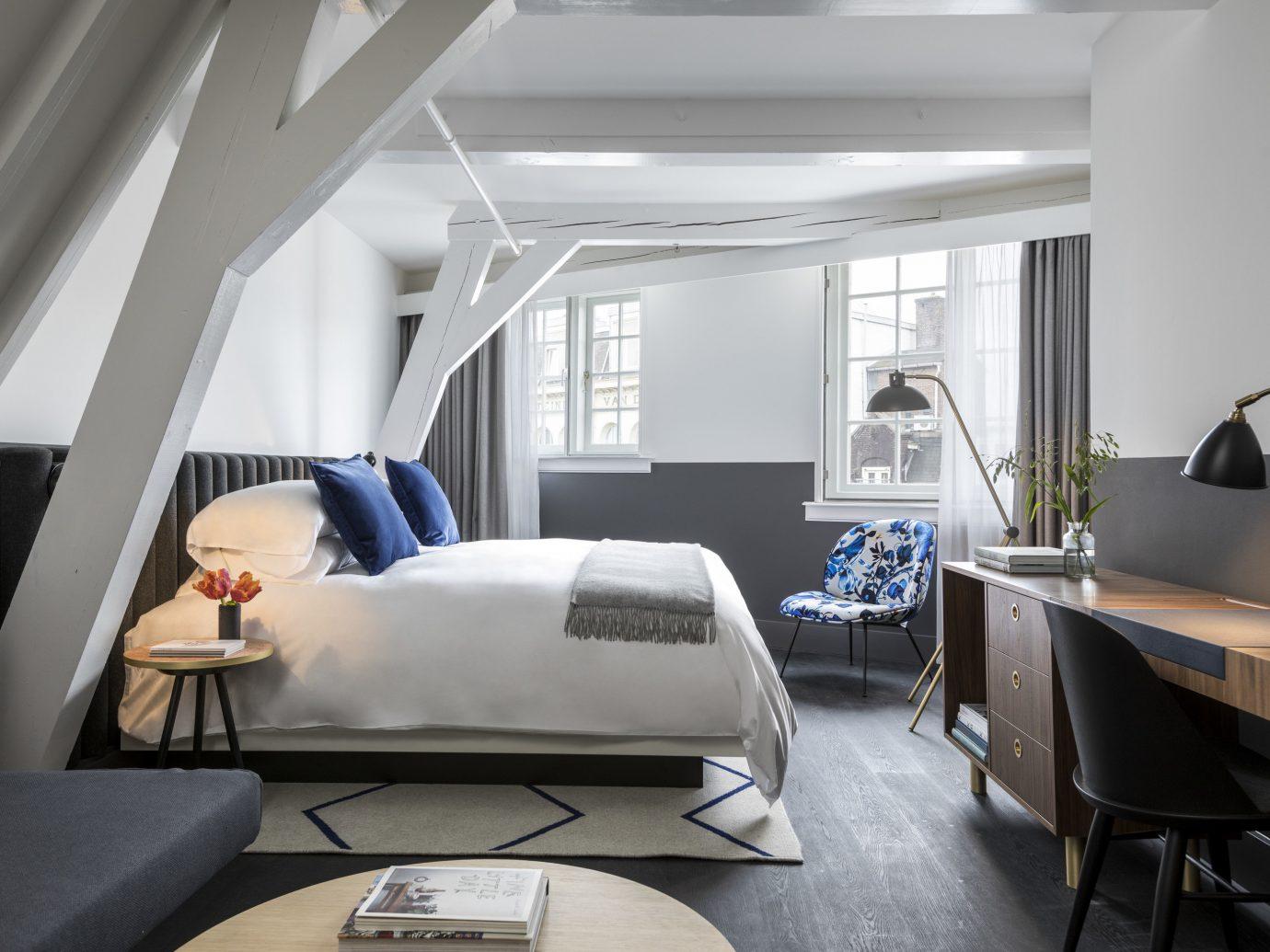 Amsterdam Hotels The Netherlands indoor wall floor room window Architecture interior design ceiling furniture white product design Bedroom loft Suite daylighting interior designer