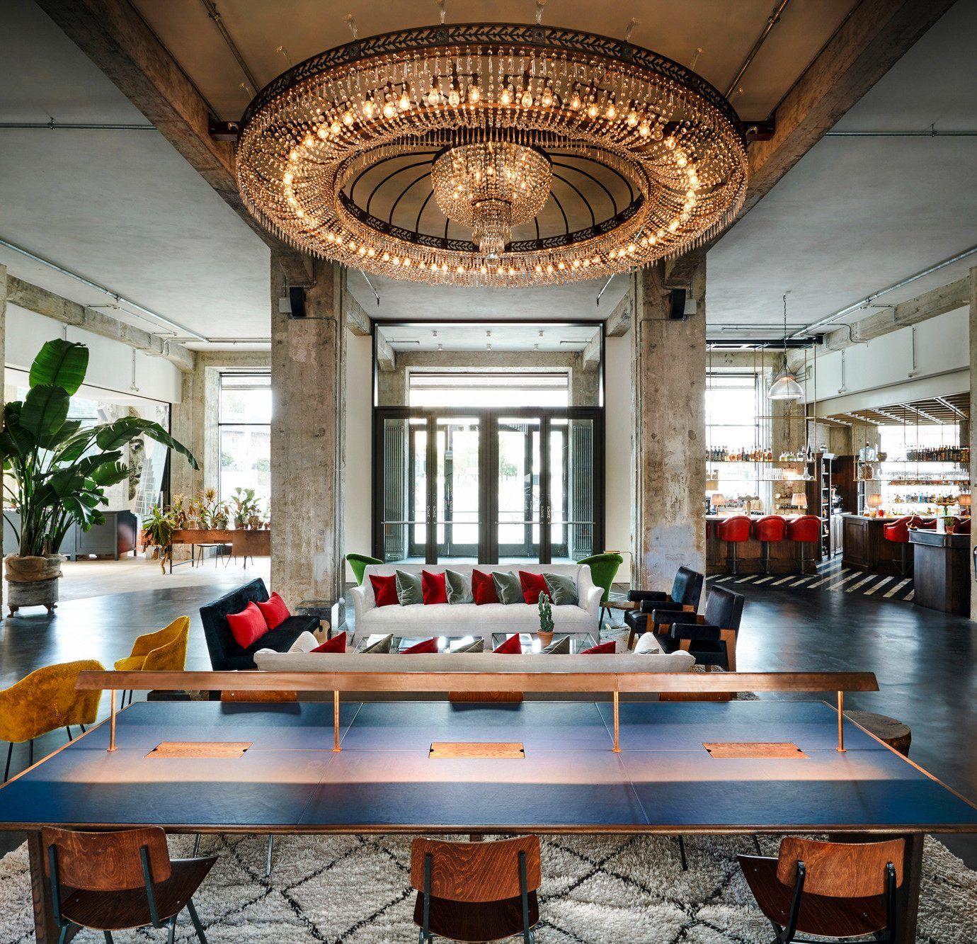 Berlin Boutique Hotels Germany Hotels Luxury Travel table indoor floor room ceiling interior design furniture Lobby dining table dining room