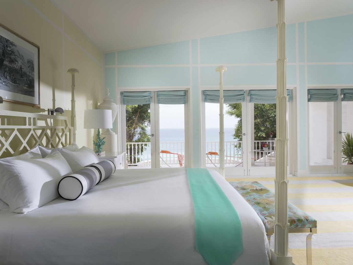 Balcony Beach Beachfront Bedroom Elegant Hotels Island Luxury Scenic views Suite Terrace Trip Ideas Waterfront indoor wall room window floor property ceiling green living room home condominium interior design estate real estate Design furniture apartment area decorated