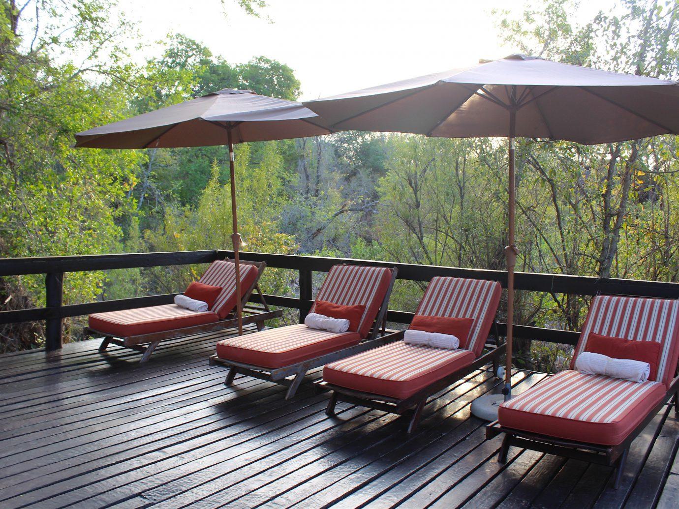 Outdoors + Adventure Safaris Trip Ideas tree table outdoor umbrella chair gazebo outdoor structure canopy backyard area Deck set furniture shade