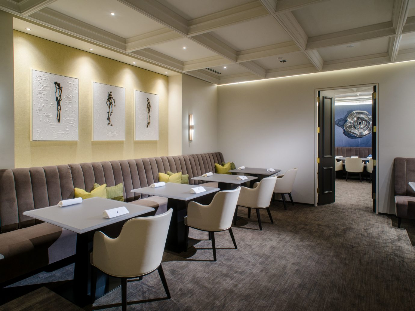 Food + Drink indoor floor ceiling wall table room chair property conference hall hotel furniture interior design real estate waiting room function hall Design area restaurant convention center several