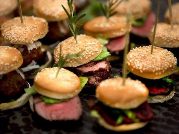 Food + Drink hamburger food dish meal canapé hors d oeuvre slider produce fast food sandwich cuisine