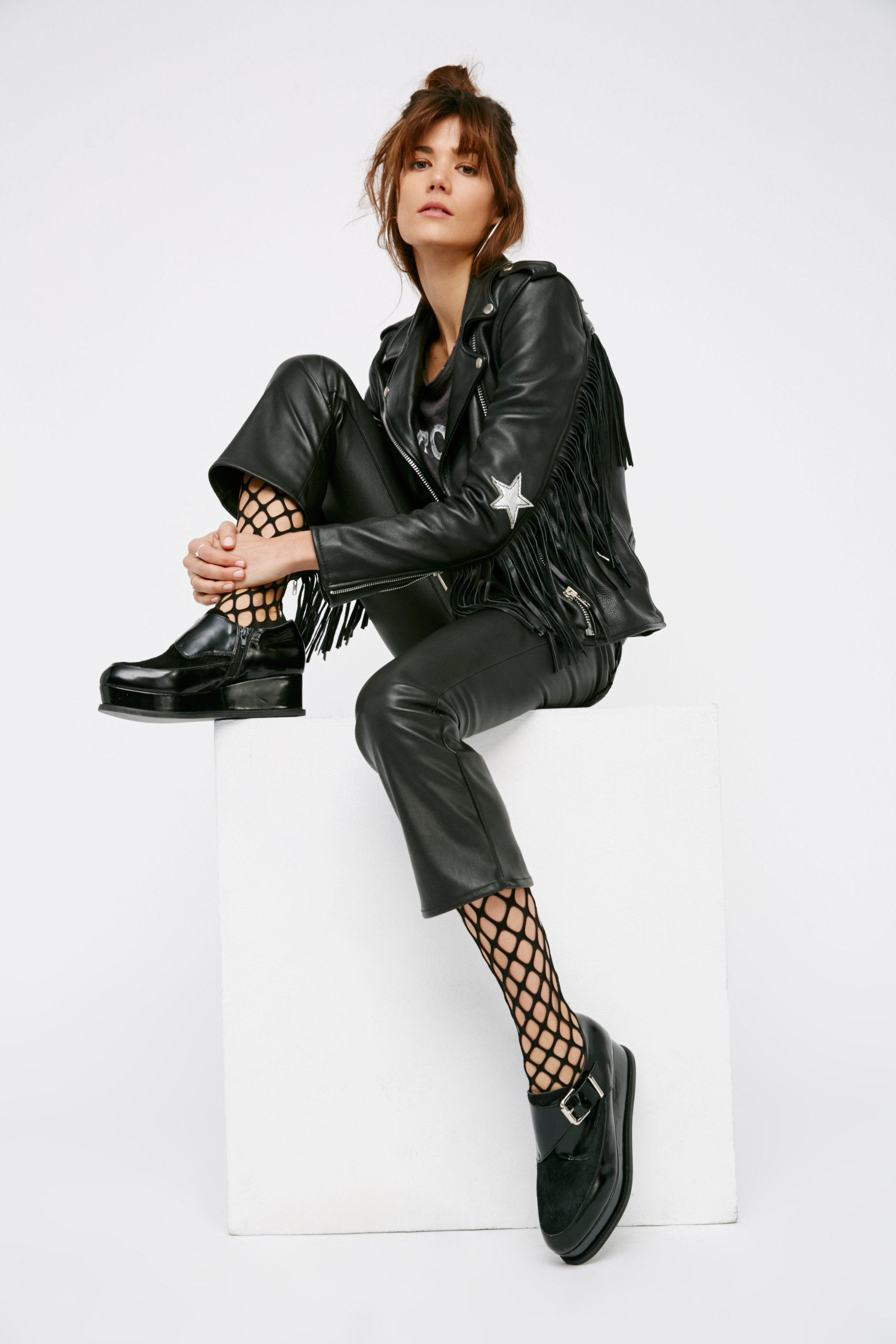Style + Design person black clothing leather footwear sleeve jacket photo shoot fashion spring textile outerwear model leather jacket leg air trousers material collar formal wear