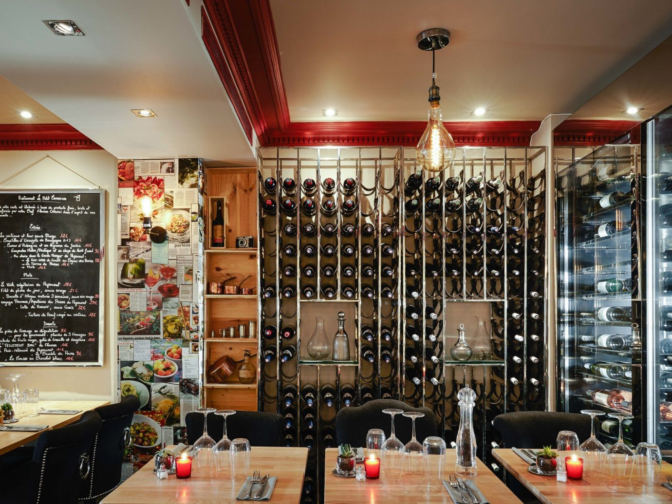 Food + Drink Romance indoor ceiling room interior design Living liquor store restaurant wine cellar furniture area decorated cluttered
