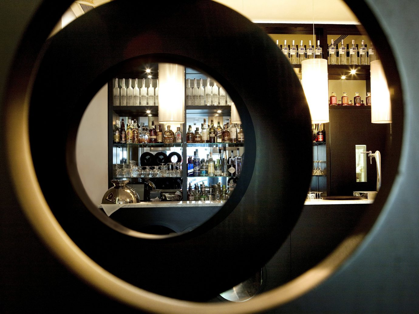 Bar Boutique Boutique Hotels Budget City Drink Hotels Modern Nightlife mirror indoor color fisheye lens black photograph image photography snapshot light darkness window reflection shape single lens reflex camera round see