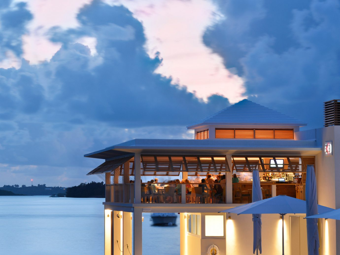 Architecture Beachfront Buildings Exterior Hotels sky outdoor blue house vacation cloud Ocean Sea reflection tower clouds day