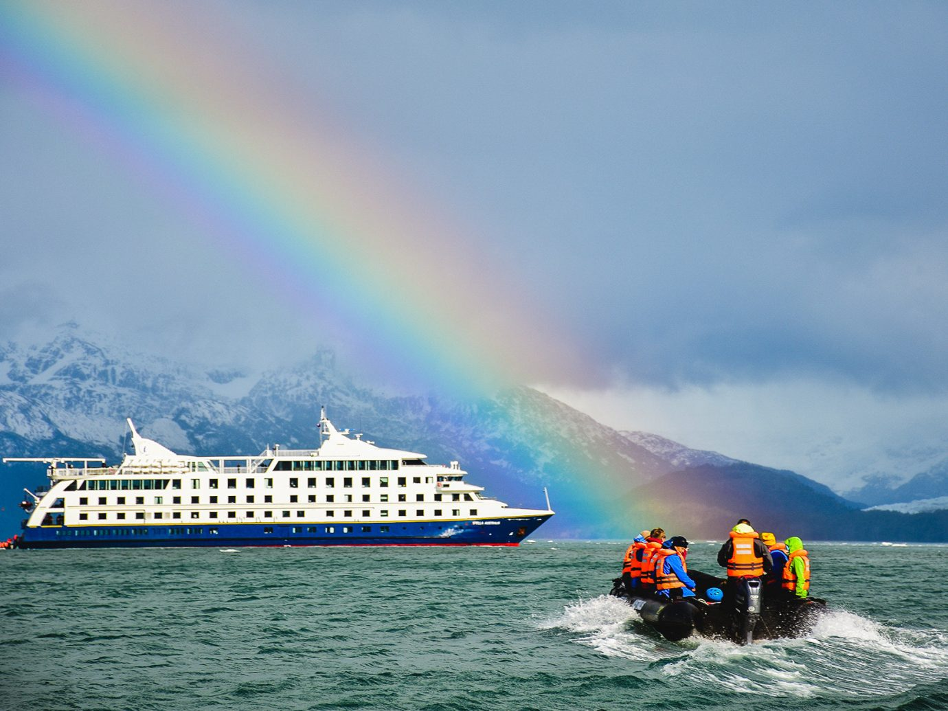 Cruise Travel Luxury Travel Trip Ideas water sky outdoor Boat Nature water transportation rainbow Sea wave cloud boating watercraft meteorological phenomenon yellow Ocean landscape wind wave open
