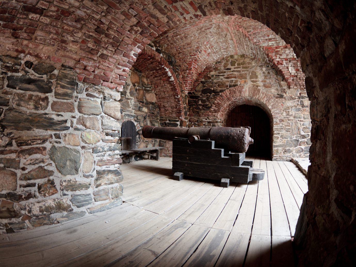 Finland Trip Ideas brick stone Fireplace Living arch wall tunnel Ruins furniture