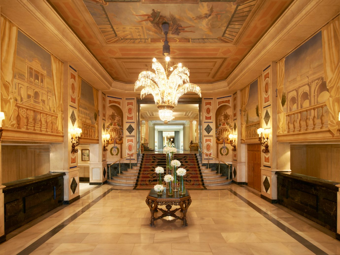 Elegant Historic Hotels Living Lobby Lounge Madrid Spain indoor floor ceiling building estate palace mansion interior design ancient history tourist attraction chapel place of worship hall fancy