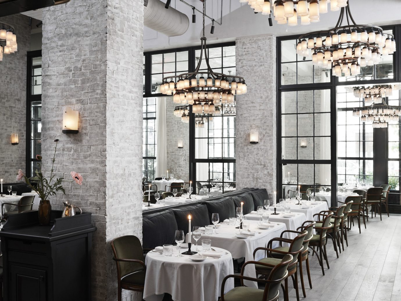 Food + Drink Romance indoor room restaurant meal interior design aisle furniture several dining room