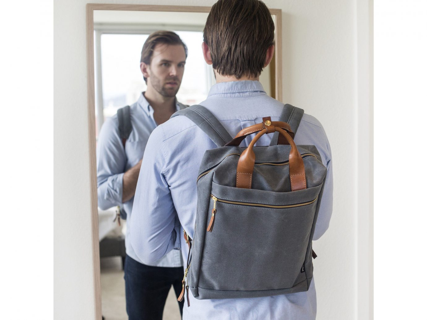 Style + Design person wall bag man shoulder product joint backpack product design luggage & bags