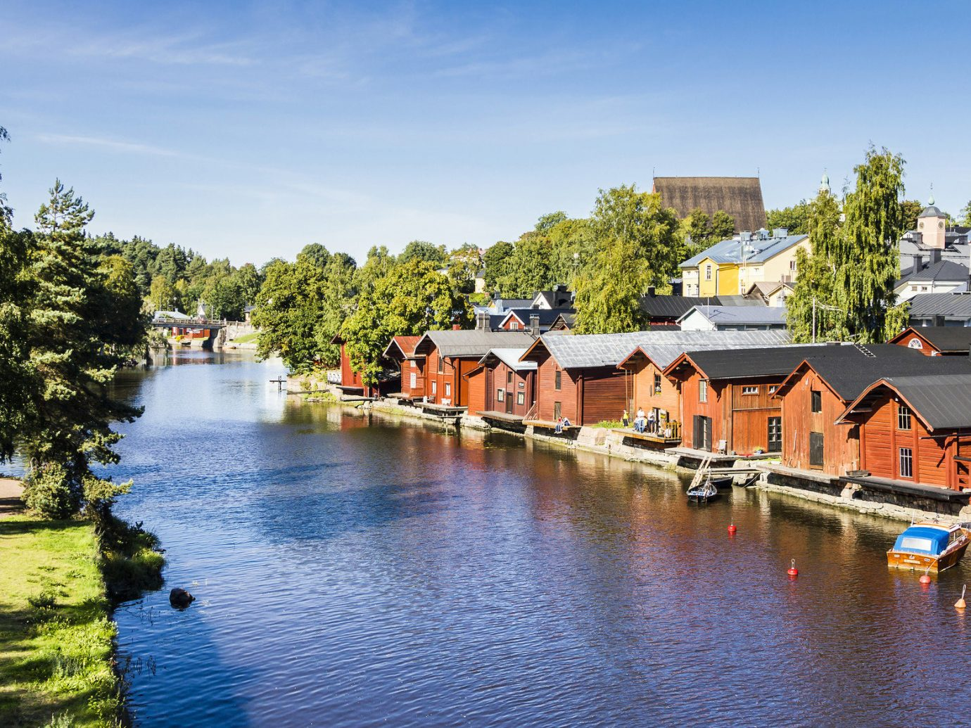 City dock Finland houses path River trees Trip Ideas water outdoor tree sky landform body of water Canal Town waterway house reflection Lake pond several