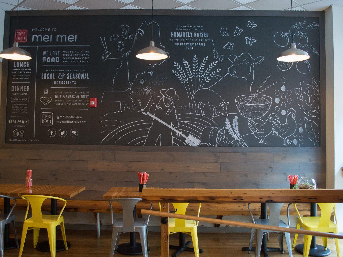Food + Drink indoor wall table interior design furniture café blackboard