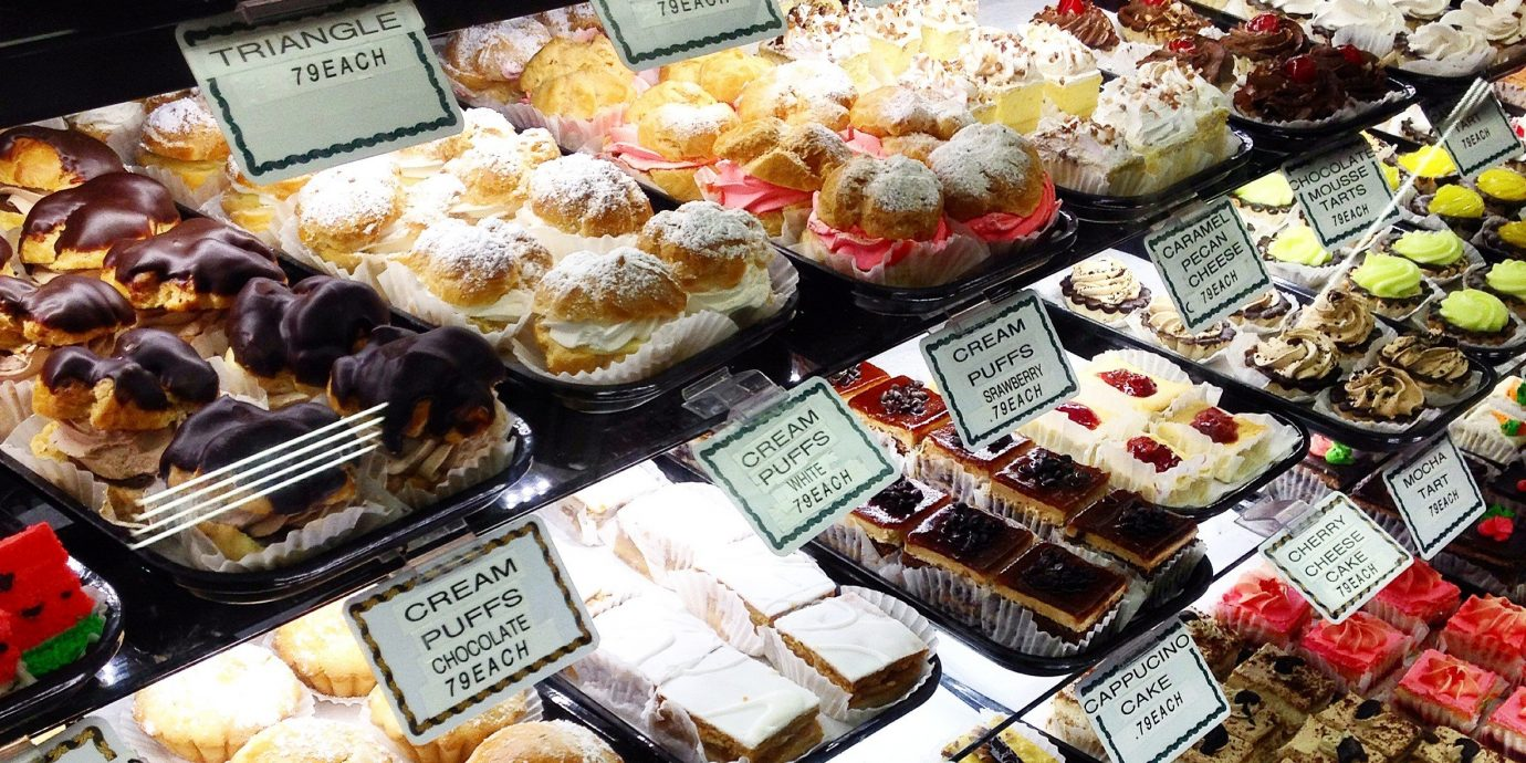 Food + Drink Trip Ideas indoor bakery food appetizer pastry cuisine finger food pâtisserie case dish snack baked goods different baking baker fast food junk food displayed several store assortment Shop