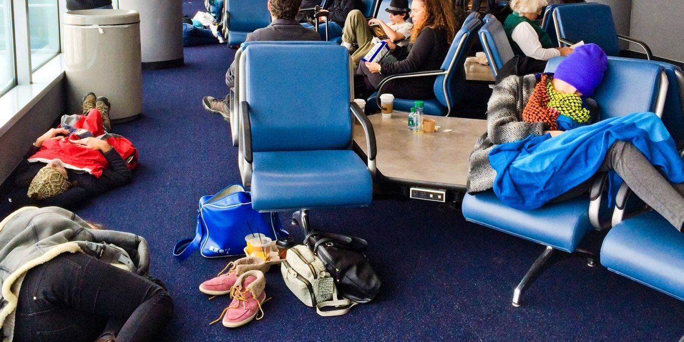 Travel Tips indoor room blue cluttered several