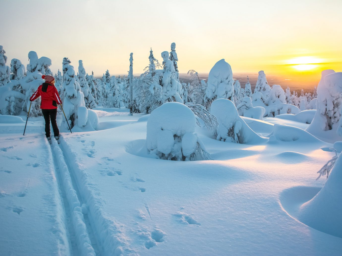 Finland Trip Ideas snow outdoor sky skiing Winter Nature arctic freezing ice covered geological phenomenon frost glacial landform morning winter sport mountain mountain range ice cap tree landscape Adventure slope