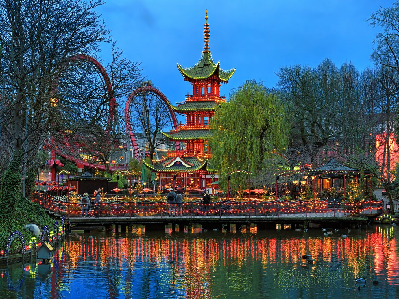 Copenhagen Denmark Trip Ideas Nature chinese architecture reflection landmark water pagoda leaf waterway tourist attraction tree plant sky leisure tourism Lake amusement park landscape evening City pond autumn water feature park botanical garden tower world computer wallpaper