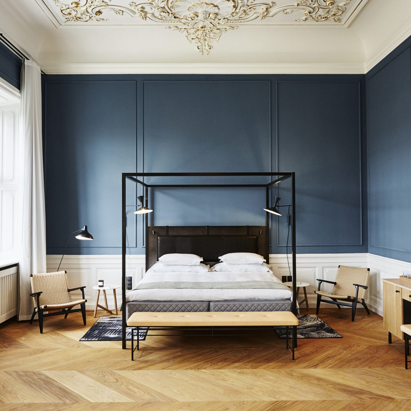 Architecture Boutique Hotels Copenhagen Denmark Design Fall Travel Hotels Luxury Travel News Trip Ideas floor indoor wall room window furniture interior design bed bed frame ceiling Bedroom wood flooring flooring living room interior designer mattress hardwood