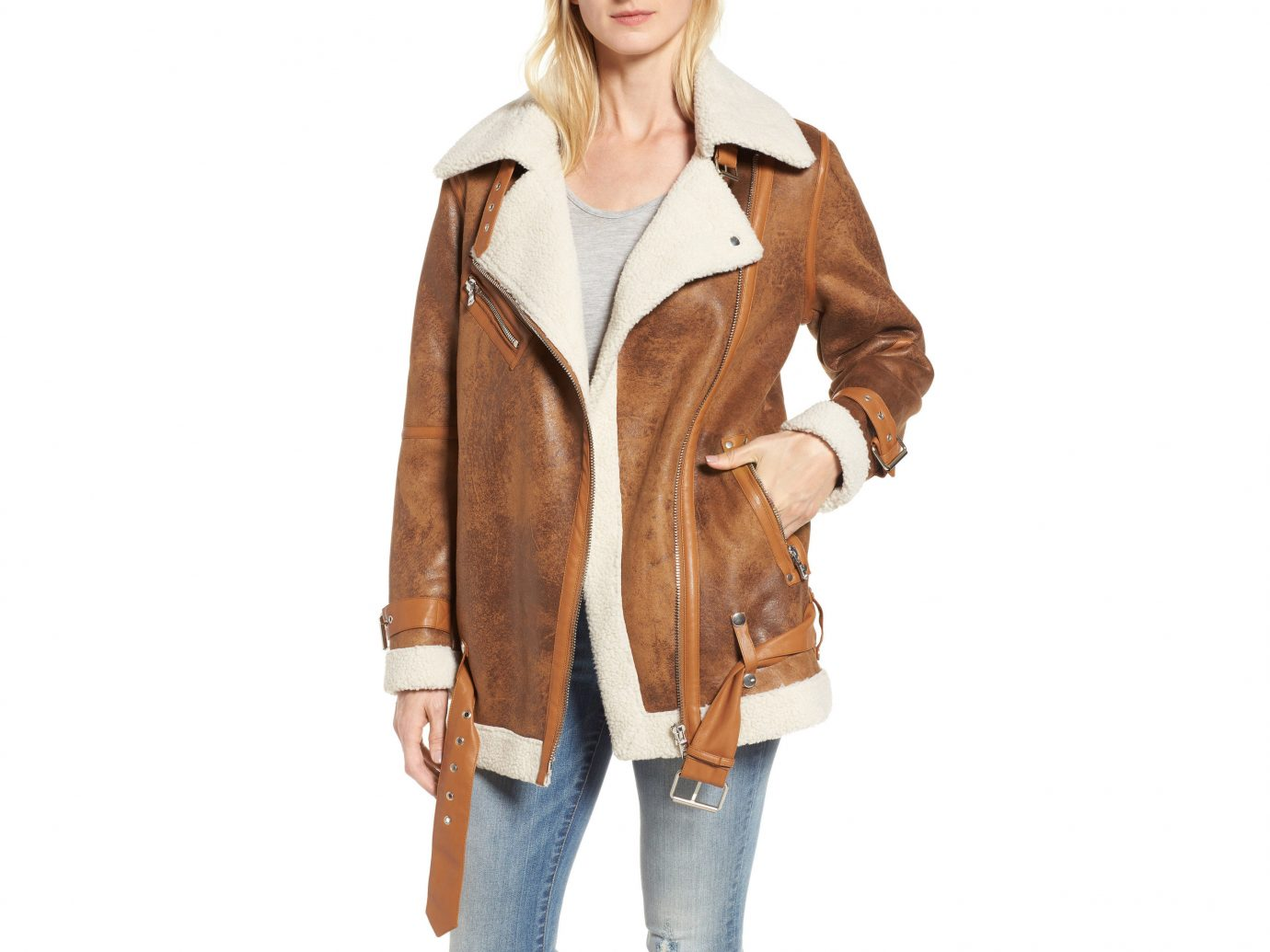 Fall Travel Style + Design Travel Shop Weekend Getaways person clothing coat jacket wearing fashion model leather jacket leather overcoat fur posing dressed