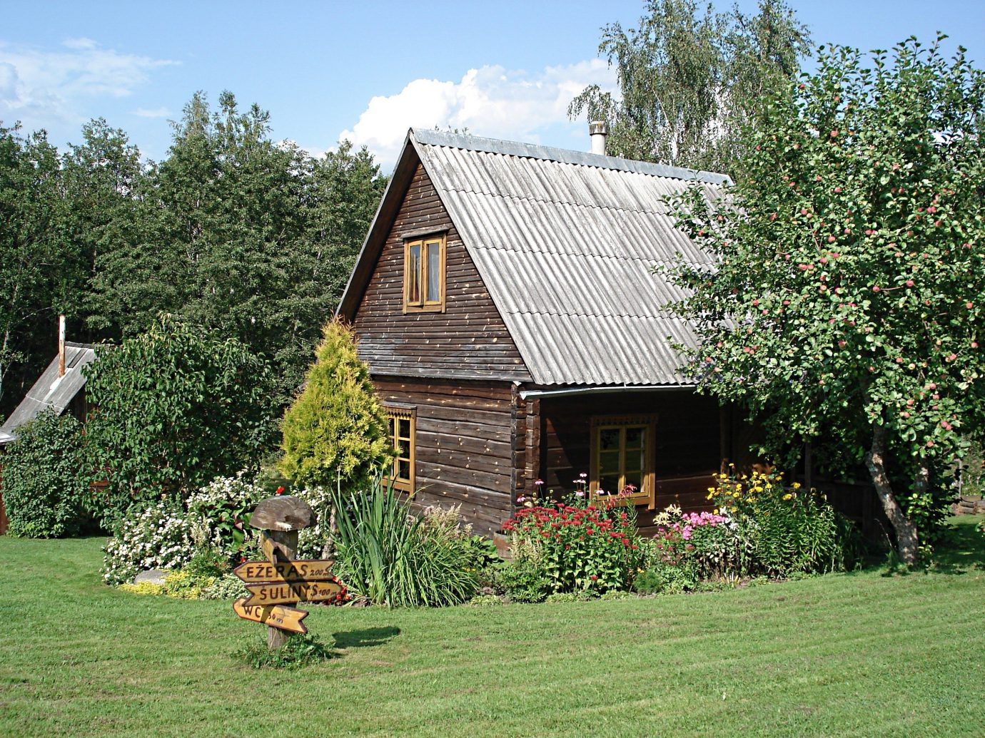 Trip Ideas tree grass outdoor sky house property building home green estate lawn residential area cottage rural area Farm yard Garden backyard log cabin farmhouse barn shed outdoor structure plantation plant lush