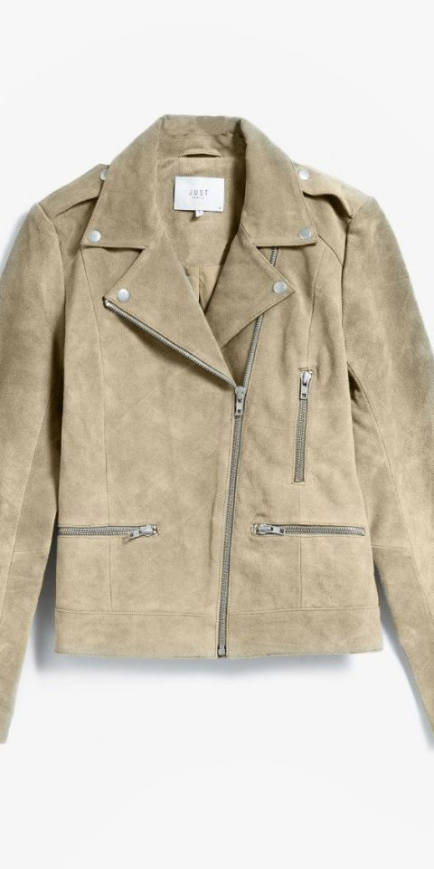 Style + Design clothing person jacket suit leather textile outerwear denim sleeve leather jacket coat pocket material beige