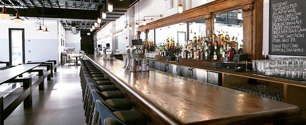 Food + Drink indoor floor Bar restaurant interior design counter long area steel dining room