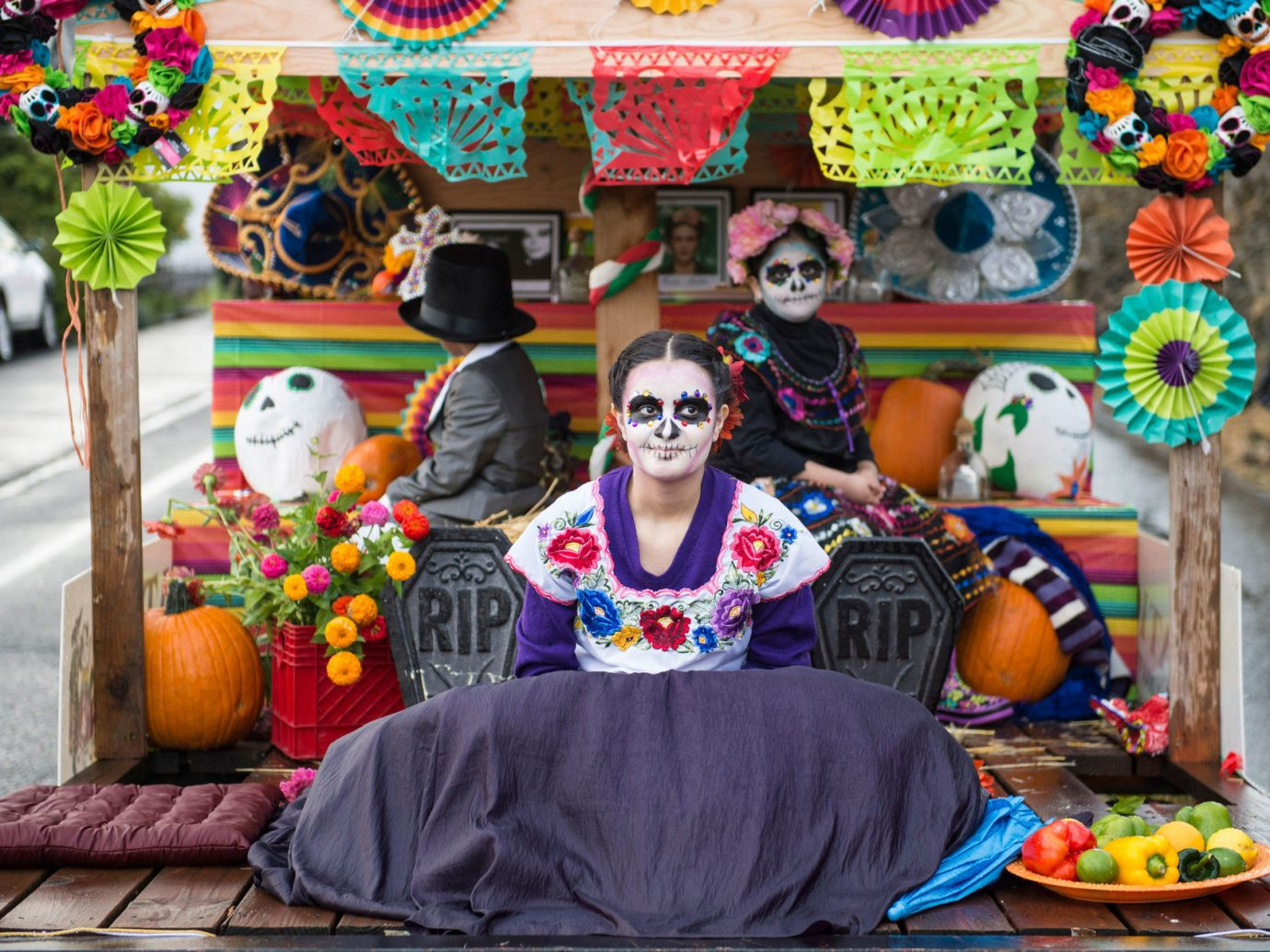 Arts + Culture colorful costume Cultural culture day of the dead dia de los muertos festival festive fun halloween holiday parade people tradition traditional Trip Ideas color carnival event colored decorated