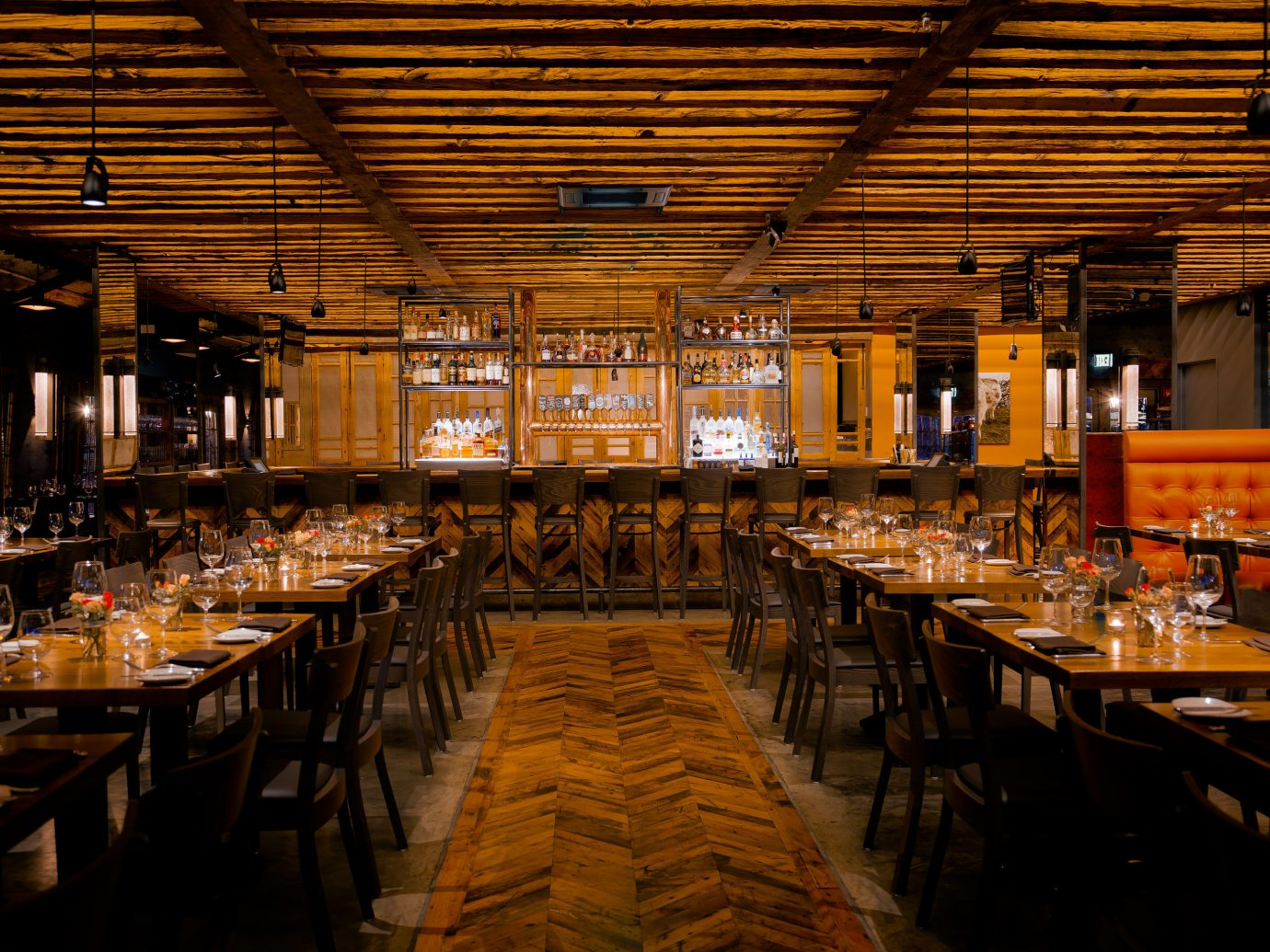 Food + Drink table indoor ceiling meal restaurant function hall Dining Bar long empty several dining room