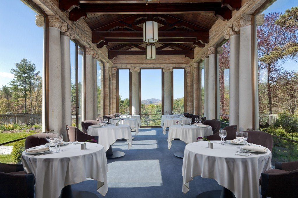 Boutique Hotels Fall Food + Drink Hotels Outdoors + Adventure Weekend Getaways window function hall building restaurant estate banquet table outdoor structure interior design Resort stone colonnade