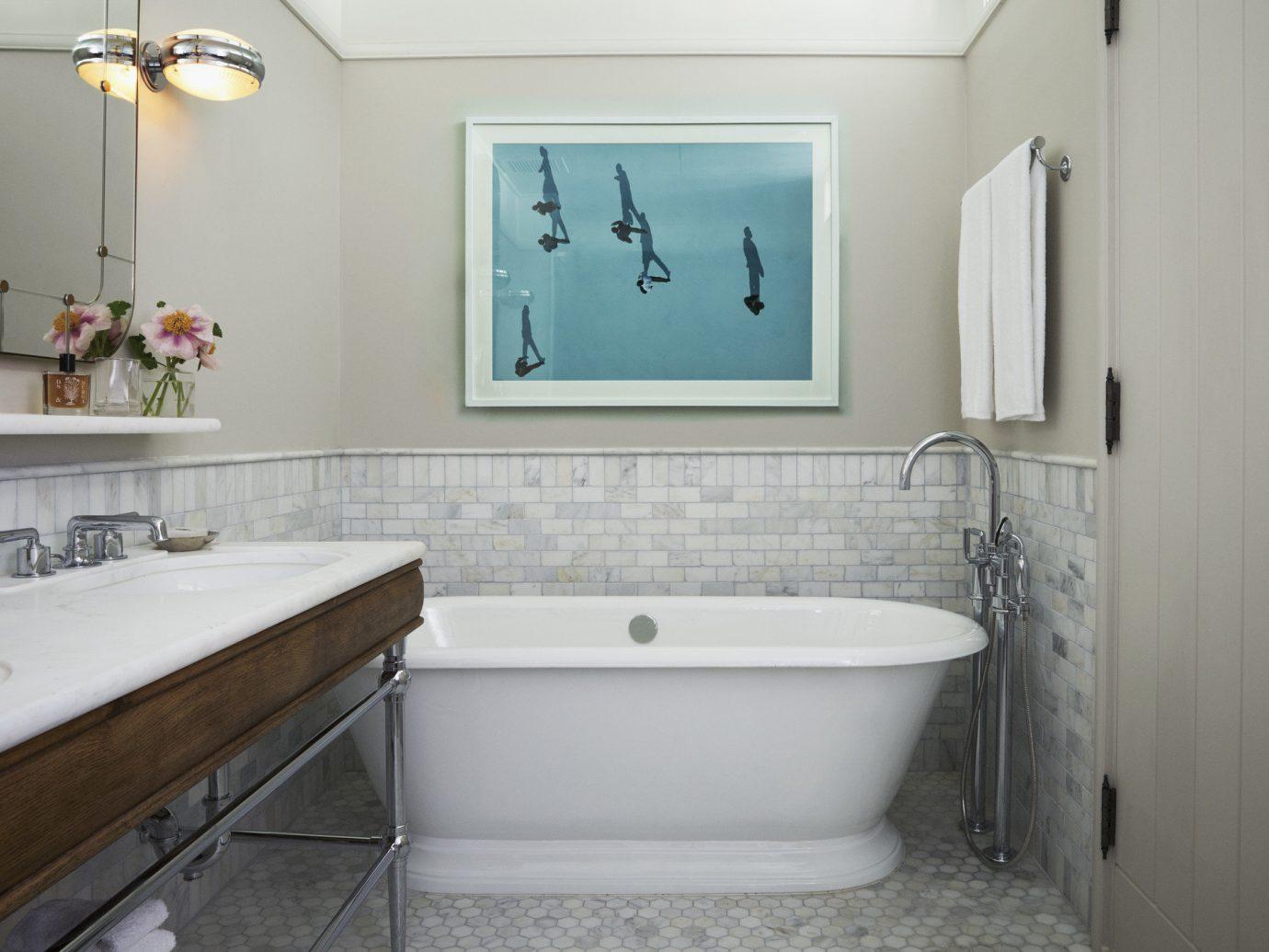 Hotels NYC bathroom wall indoor floor room sink property bathtub plumbing fixture home interior design bidet real estate apartment estate flooring tub tile Bath tiled