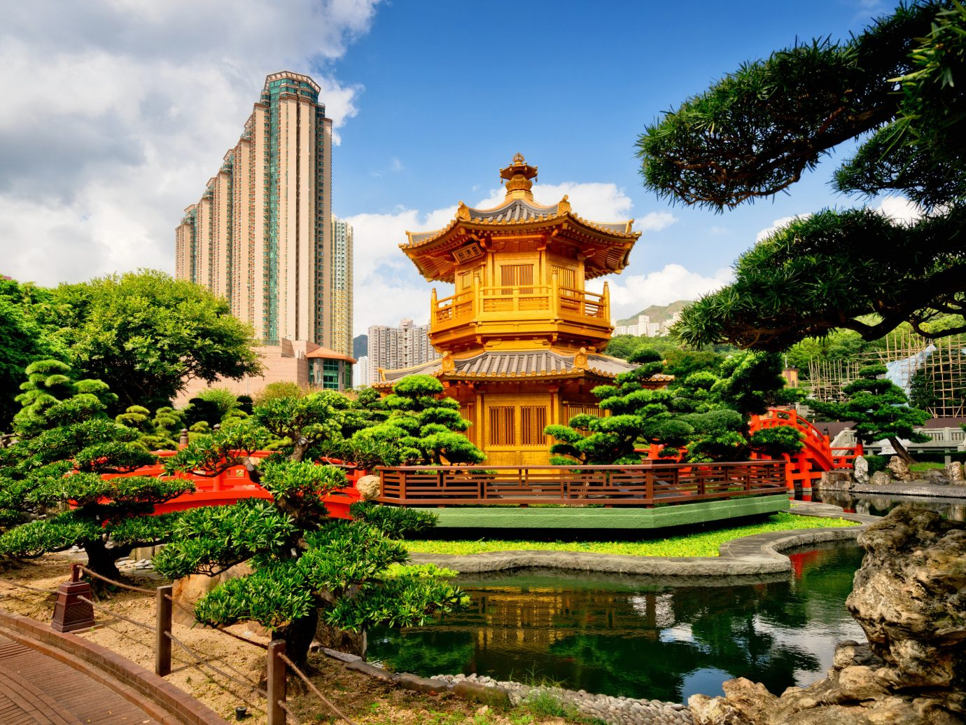 Travel Tips tree outdoor sky Nature landmark tourist attraction plant Garden leaf botanical garden pagoda chinese architecture leisure temple tourism landscape landscaping outdoor structure City park water feature estate flower