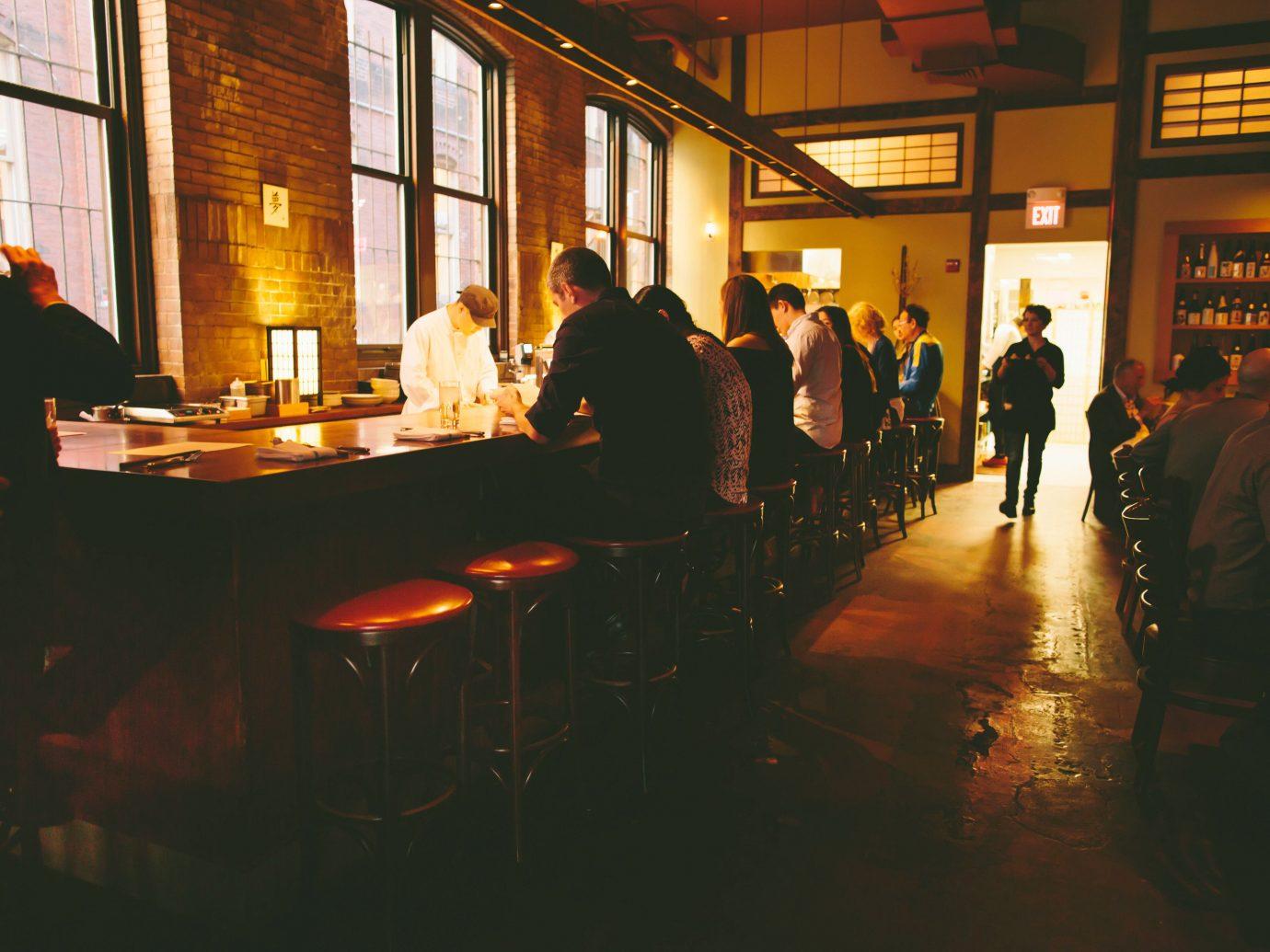 Food + Drink indoor floor person window restaurant night Bar darkness evening