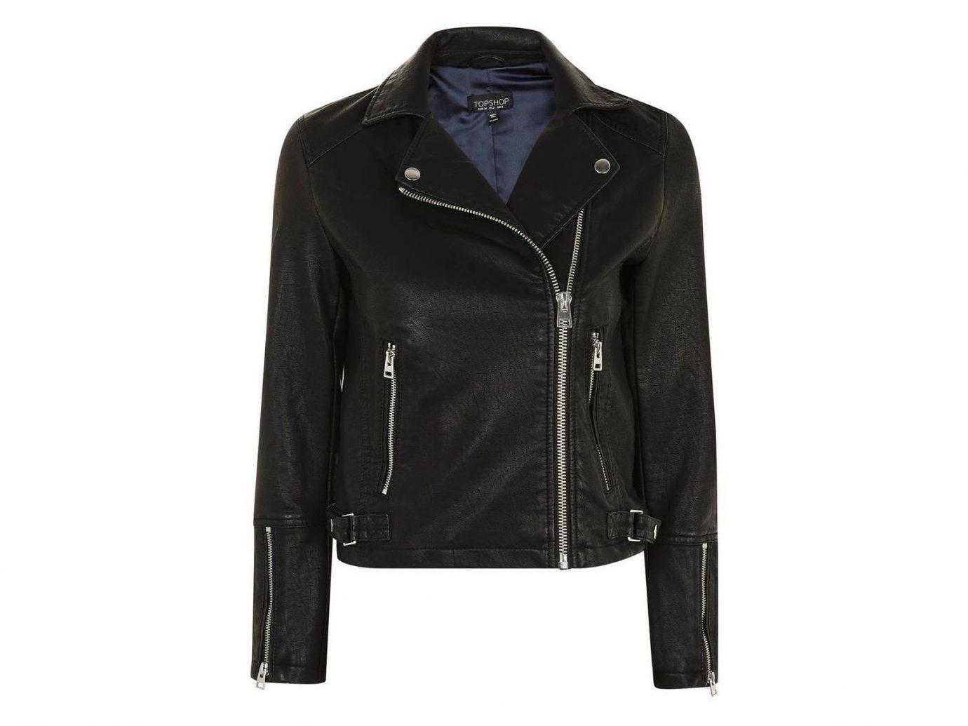 Celebs Style + Design Travel Shop clothing jacket black leather jacket leather suit zipper product posing coat dressed
