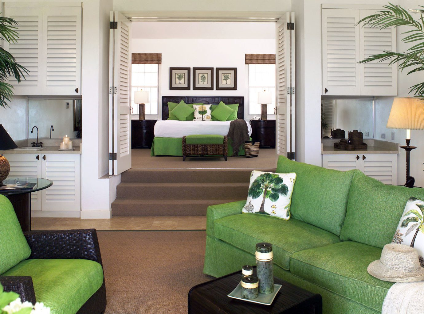 Adult-only Beach Beachfront Bedroom Honeymoon Hotels Living Lounge Romance Romantic Suite Tropical Waterfront green indoor window sofa room floor living room property furniture home condominium estate interior design real estate cottage Villa pillow area decorated leather Modern arranged