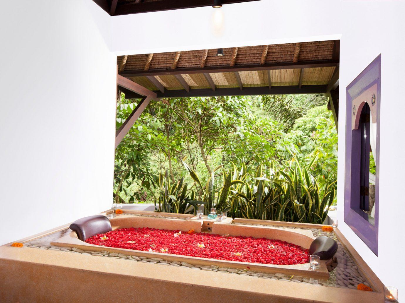 Health + Wellness Hotels property room house estate Villa home interior design Design real estate cottage living room Resort swimming pool furniture backyard