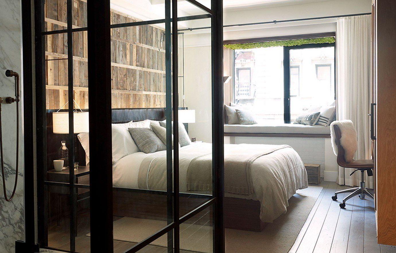 Hotels indoor window floor bed room property Bedroom home house interior design door window covering living room loft cottage furniture apartment