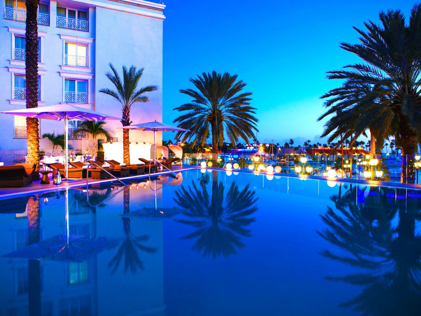 Beachfront Budget Hotels Nightlife Pool tree outdoor swimming pool Resort night light palm arecales evening lit reflection marina colorful