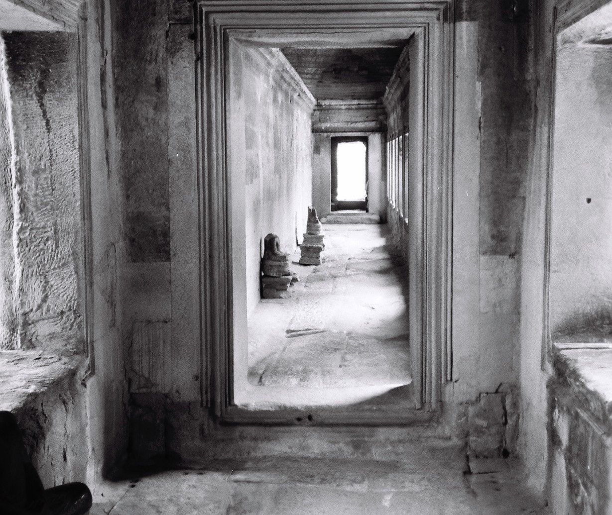 Offbeat indoor white black photograph black and white image building photography house monochrome monochrome photography darkness ancient history temple old alley floor Ruins door doorway dirty
