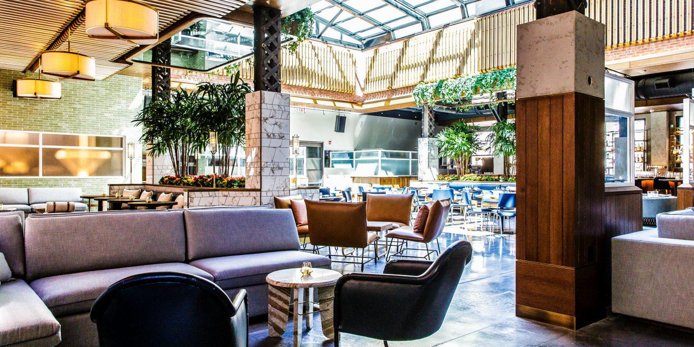 Food + Drink indoor floor chair interior design Lobby restaurant living room café furniture area